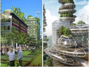 "Let's compare the left ""sustainable city of the future"" with the right ""sustainable city of the future"". Which one symbolizes sustainability for you? How do you think the a sustainable city should look like?"
